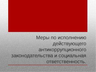 Меры по исполнению действующего антикоррупционного законодательства и социаль