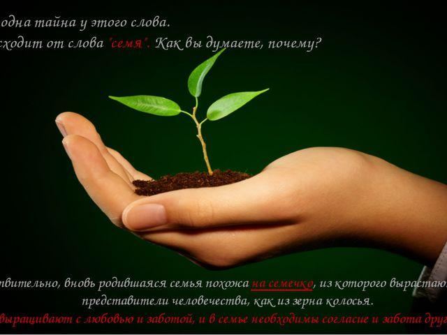 """Есть ещё одна тайна у этого слова. Оно происходит от слова """"семя"""". Как вы дум..."""