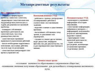 Метапредметные результаты Коммуникативные УУД: - работают в группах: распреде