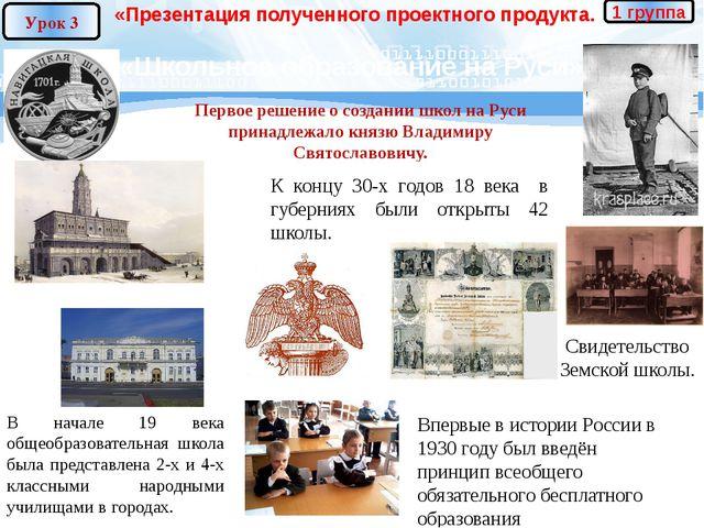 «Презентация полученного проектного продукта. «Школьное образование на Руси»...