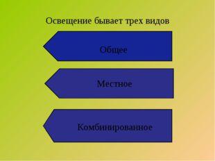 Освещение бывает трех видов Комбинированное Общее