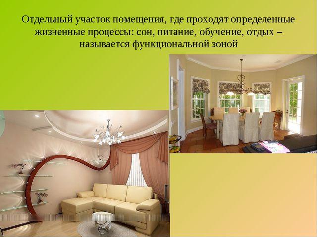 Отдельный участок помещения, где проходят определенные жизненные процессы: со...