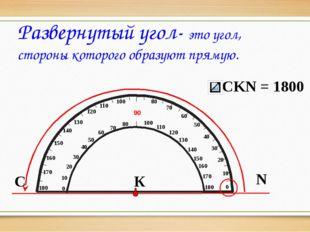 С N К Развернутый угол- это угол, стороны которого образуют прямую. 10 20 50