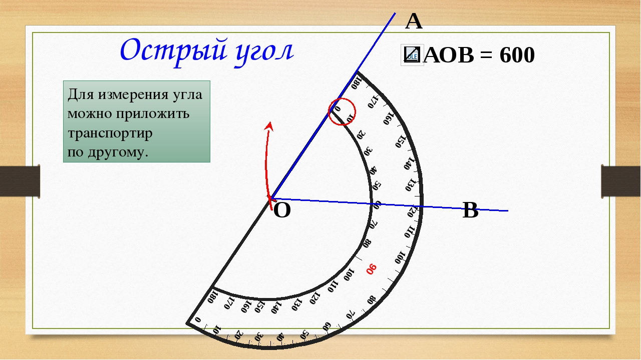 А В О Острый угол Для измерения угла можно приложить транспортир по другому....