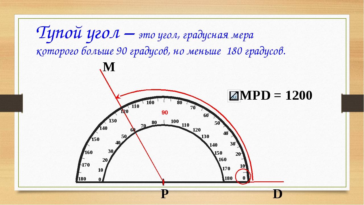 Тупой угол – это угол, градусная мера которого больше 90 градусов, но меньше...