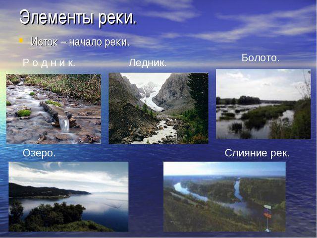 Элементы реки. Исток – начало реки. Р о д н и к. Ледник. Болото. Озеро. Слиян...