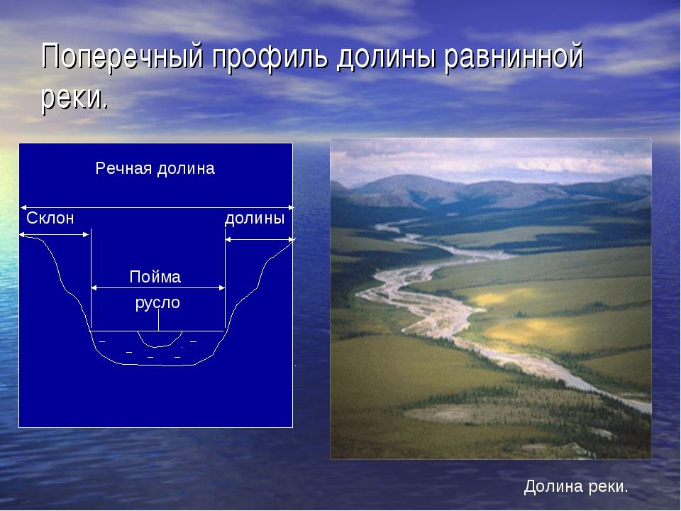 Поперечный профиль долины равнинной реки. Долина реки.