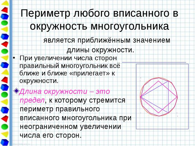 Периметр любого вписанного в окружность многоугольника является приближённым...