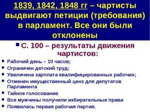 1839, 1842, 1848 гг – чартисты выдвигают петиции (требования) в парламент. Вс