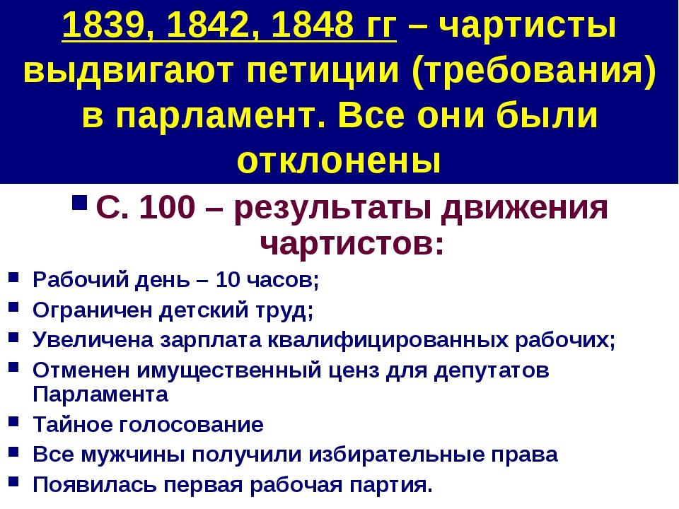 1839, 1842, 1848 гг – чартисты выдвигают петиции (требования) в парламент. Вс...