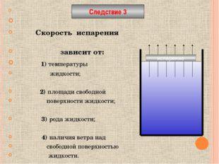 Скорость испарения зависит от: 1) температуры жидкости; 2) площади свободной