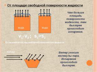 От площади свободной поверхности жидкости Чем больше площадь поверхности жидк