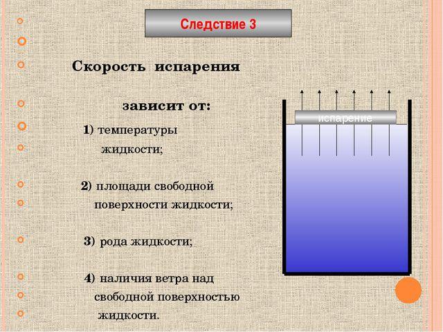 Скорость испарения зависит от: 1) температуры жидкости; 2) площади свободной...