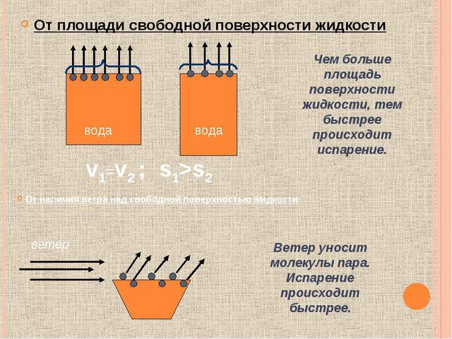 От площади свободной поверхности жидкости Чем больше площадь поверхности жидк...