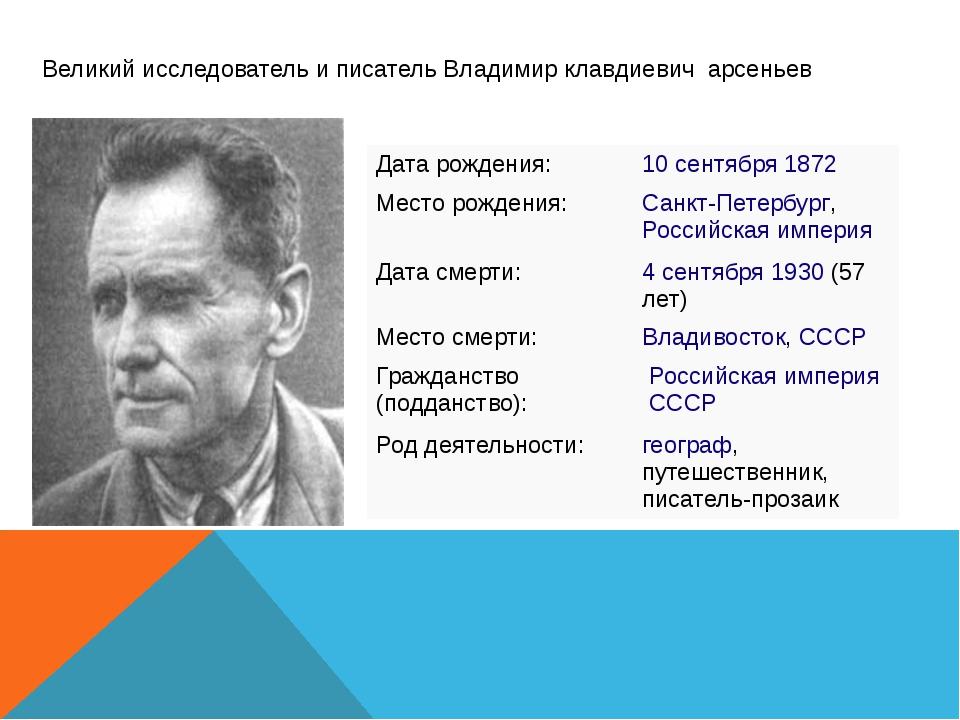 Великий исследователь и писатель Владимир клавдиевич арсеньев Дата рождения:...