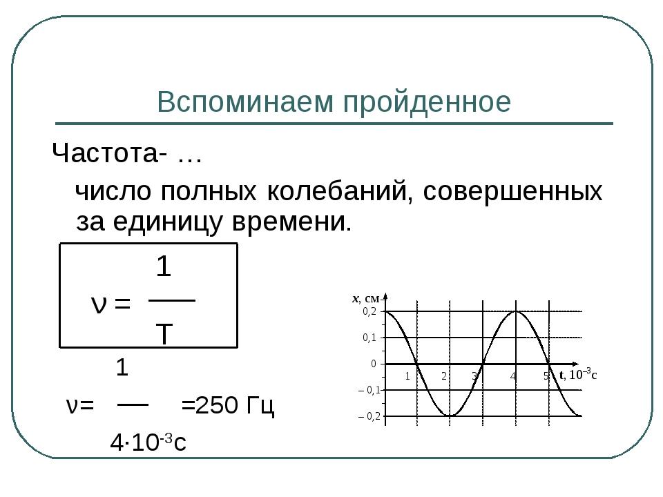 Вспоминаем пройденное Частота- … число полных колебаний, совершенных за едини...