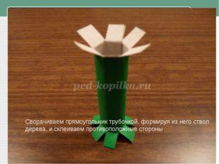 Сворачиваем прямоугольник трубочкой, формируя из него ствол дерева, и склеив