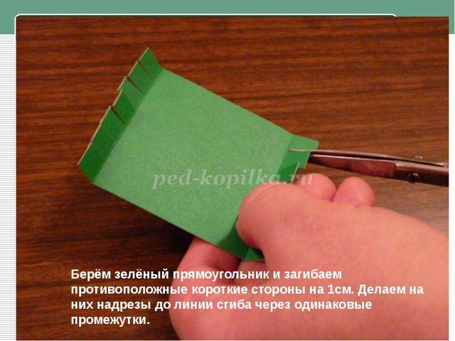 Берём зелёный прямоугольник и загибаем противоположные короткие стороны на 1...