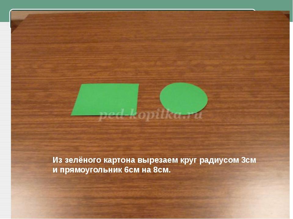 Из зелёного картона вырезаем круг радиусом 3см и прямоугольник 6см на 8см.