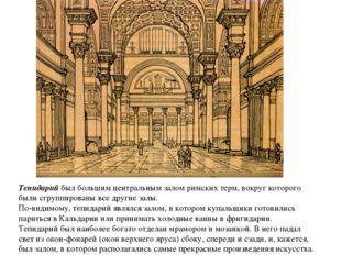 Тепидарий был большим центральным залом римских терм, вокруг которого были сг