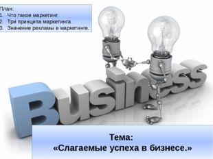 Тема: «Слагаемые успеха в бизнесе.» План: Что такое маркетинг. Три принципа м