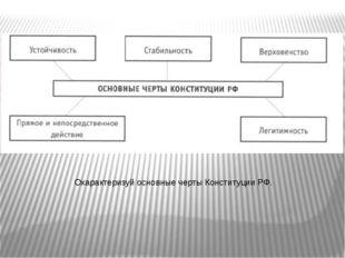 Охарактеризуй основные черты Конституции РФ.