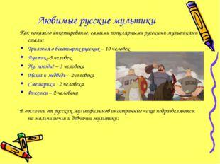 Любимые русские мультики Как показало анкетирование, самыми популярными русск