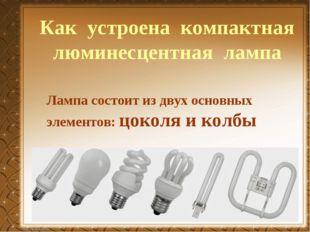 Лампа состоит из двух основных элементов: цоколя и колбы Как устроена компакт