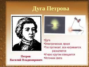 Петров Василий Владимирович Дуга Петрова Дуга Электрическая, яркая Ток протек