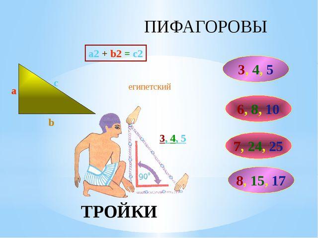 ПИФАГОРОВЫ ТРОЙКИ a2 + b2 = c2 3, 4, 5 6, 8, 10 c a b 7, 24, 25 8, 15, 17 еги...