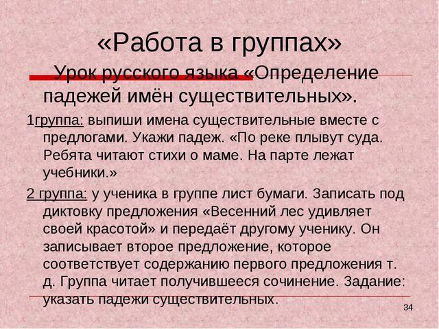 «Работа в группах» Урок русского языка «Определение падежей имён существитель...