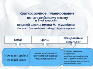 Краткосрочное планирование по английскому языку в 6 «А классе» средней школы