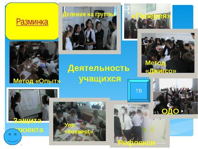 Деятельность учащихся Разминка Деления на группы «Галерея» Метод «Опыт» Метод...