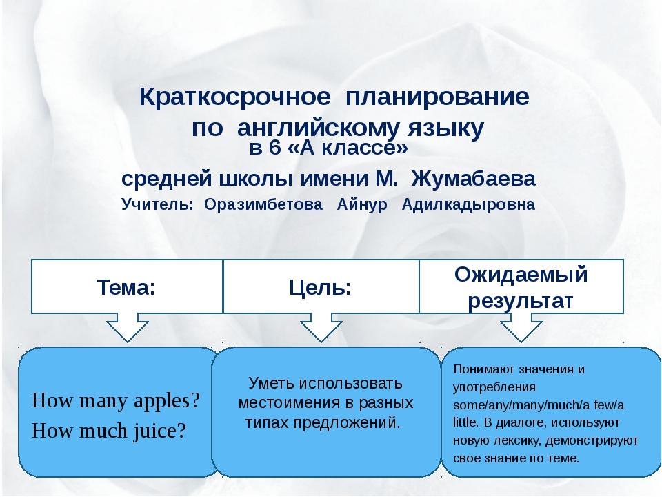 Краткосрочное планирование по английскому языку в 6 «А классе» средней школы...