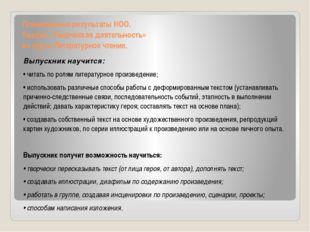 Планируемые результаты НОО. Раздел «Творческая деятельность» из курса Литерат