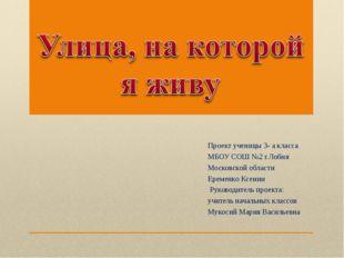 Проект ученицы 3- а класса МБОУ СОШ №2 г.Лобня Московской области Еременко Кс