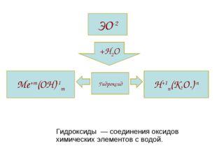Гидроксиды  — соединения оксидов химических элементов с водой.      Гидрокси