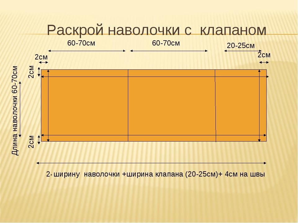 Раскрой наволочки с клапаном 2* ширину наволочки +ширина клапана (20-25см)+ 4...