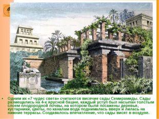 Одним их «7 чудес света» считаются висячие сады Семирамиды. Сады размещались