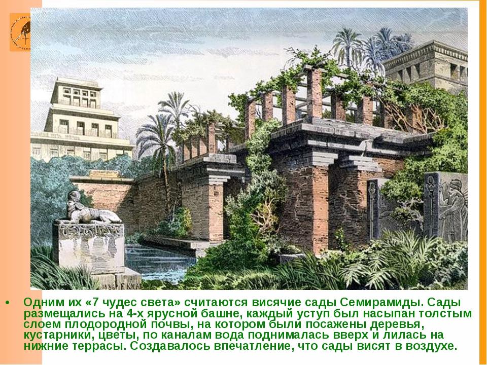 Одним их «7 чудес света» считаются висячие сады Семирамиды. Сады размещались...