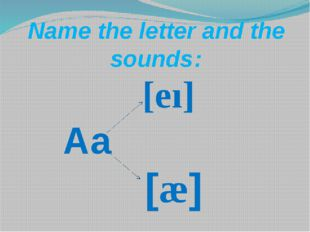 [eı] Aa [æ]        Name the letter and the sounds: