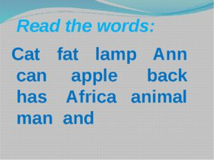 Cat fat lamp Ann can apple back has Africa animal man and   Read t