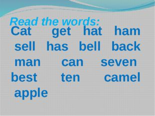 Read the words:  Cat  get hat ham sell has bell back man can seven