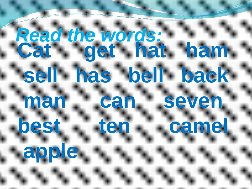 Read the words:  Cat  get hat ham sell has bell back man can seven...