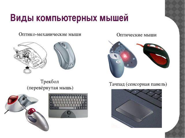Оптико-механические мыши Оптические мыши Трекбол (перевёрнутая мышь) Тачпад...