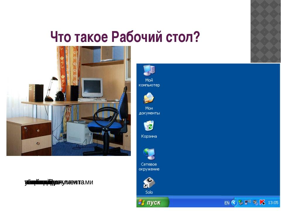 Что такое Рабочий стол? настольная лампа папка с документами учебник кнопка П...