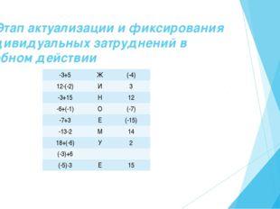 III. Этап актуализации и фиксирования индивидуальных затруднений в пробном де