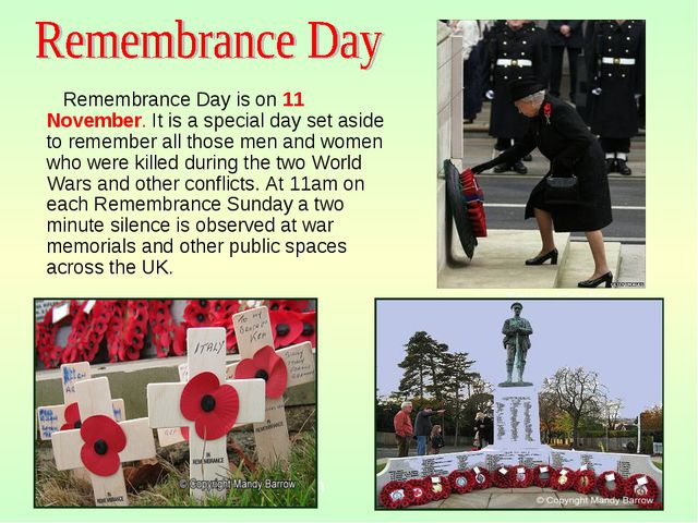 View of Town Town Centre Remembrance Day is on 11 November. It is a special d...