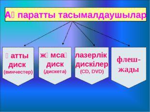 Ақпаратты тасымалдаушылар қатты диск (винчестер) жұмсақ диск (дискета) лазерл