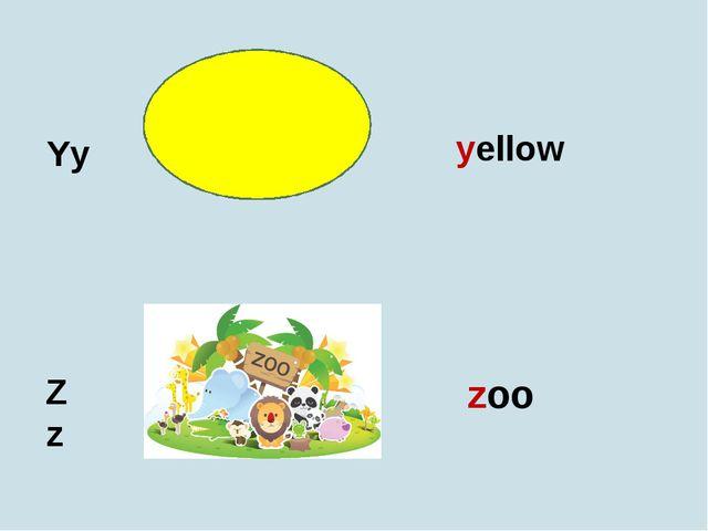 Yy Zz yellow zoo